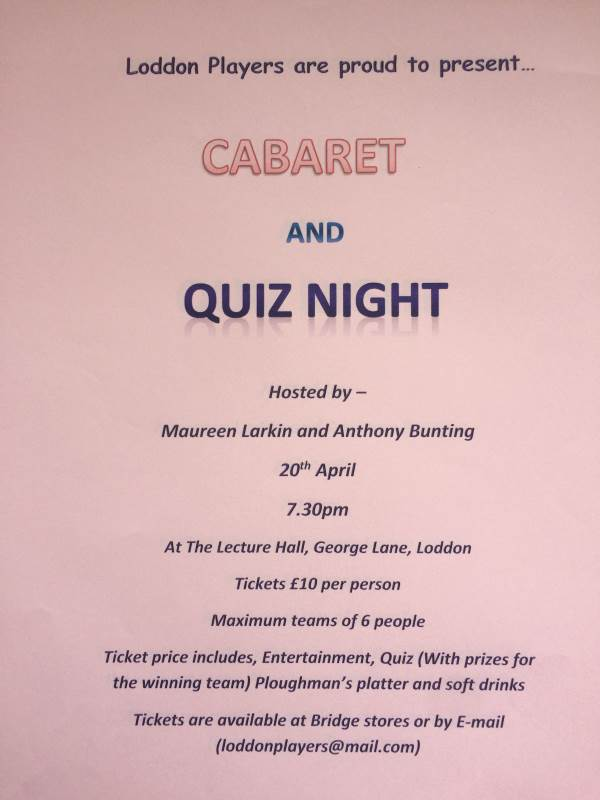 Quiz night 20 April 2018